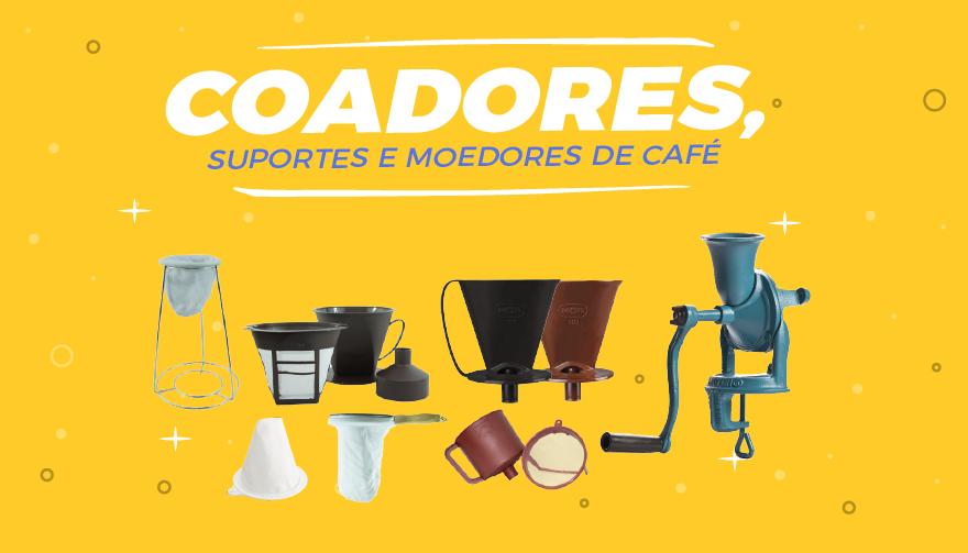 suportes, coadores e moedores de café